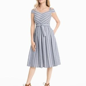 WHBM Cold-Shoulder Seersucker Dress